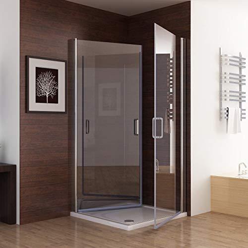 MIQU Duschkabine Eckeinstieg 90x90 x195cm Dusche 180°Schwingtür Duschwand Duschabtrennung NANO Glas ZAF90