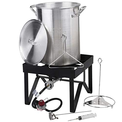 Backyard Pro 30 Qt. Deluxe Aluminum Turkey Deep Fryer Kit Steamer Pot Propane LP