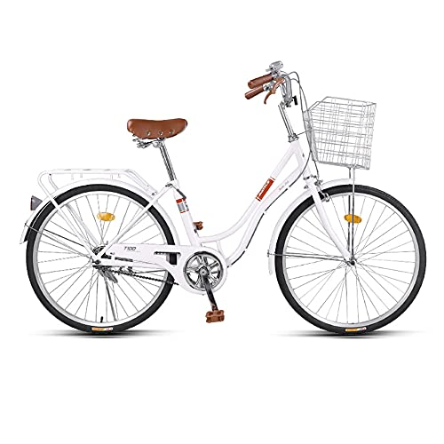 Bicicleta, Bicicleta de Viaje de Moda Retro, Bicicleta de Ocio de una Sola Velocidad de 24 Pulgadas, Marco de Acero de Alto Carbono de Bajo Alcance, para Adultos/Adolescentes/B / 163x10