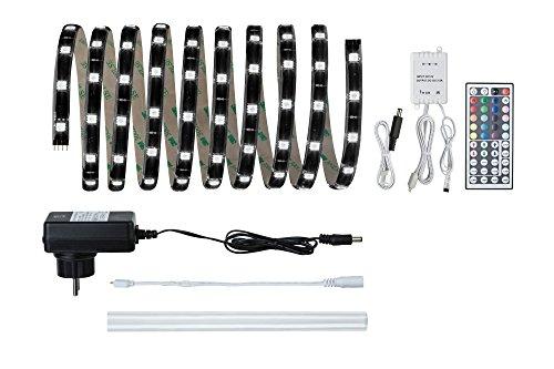 Paulmann 70512 YourLED Stripe Basisset 3 m RGB LED Strip IP44 spritzwassergeschützt Schwarz klar beschichtet 17,8W 550 Lumen 120 LED 230/12V 24 VA
