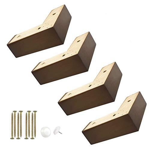 WaiMin 4 patas de madera maciza, patas de sofá, patas de mesa, patas de mesa, patas de soporte de mesa, capacidad de carga fuerte, fácil instalación, patas de sofá rojo-marrón