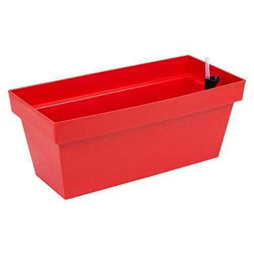 Fioriera vaso per piante Cube Case con sistema d'irrigazione, capacità 25,5 Lt , colore: rosso