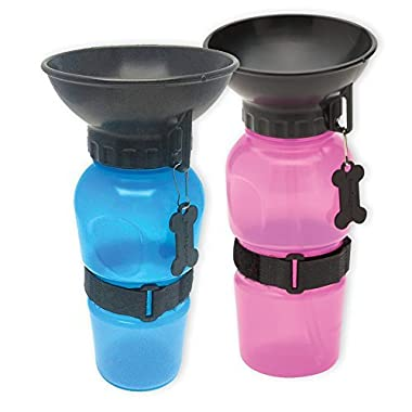 Set Of 2 Highwave Autodogmugs - Portable Water Bowl Sport Bottles For Dogs - One Blue And One Pink Bottle