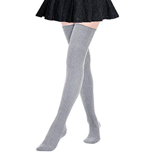 DRESHOW Kniestrümpfe aus Baumwolle für Damen Einheitsgröße Grau