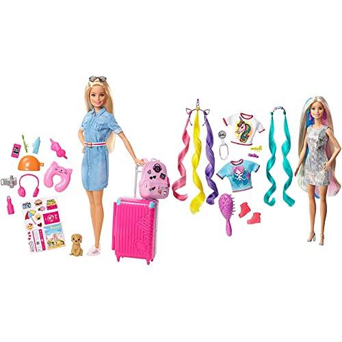 Barbie In Viaggio, Bambola Bionda Con Cucciolo, Valigia Che Si Apre, Adesivi E Accessori, Giocattolo Per 3+ Anni & Bambola Capelli Fantasia A Tema Unicorni E Sirene Con Accessori, Giocattolo Per 3+