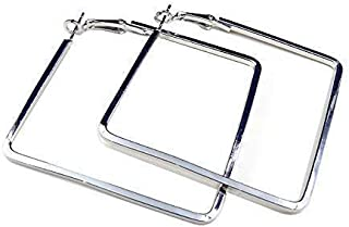 OYEFLY Stainless Steel Simple Geometric Hoop Earring for Women Girls (Silver,style1)