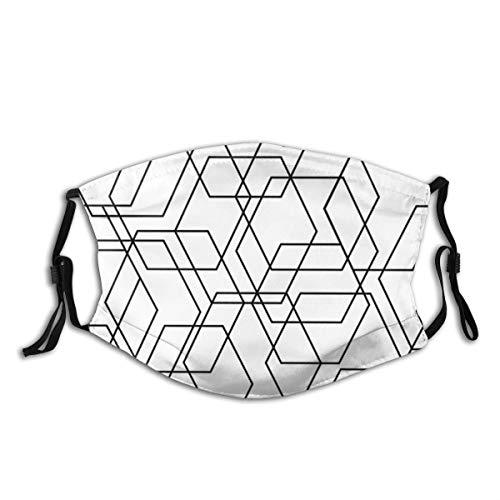 Na Tegel Patroon Met Zwart En Wit Ornament Half Gezicht met Filter Mond Masker Gezicht Maskers Anti-Stof Gezicht en Neus Cover Koele Zachte Winddichte Ski Mond Masker