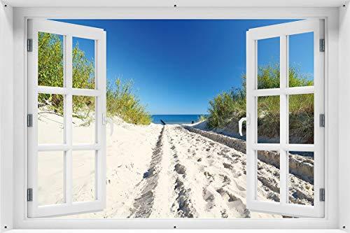 Wallario Garten-Poster Outdoor-Poster - Auf dem Sandweg zum Strand - Blauer Himmel über dem Meer in Premiumqualität, Größe: 61 x 91,5 cm, für den Außeneinsatz geeignet