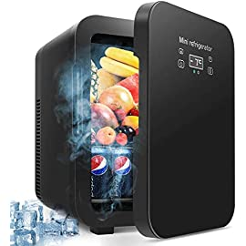 10 Liter Fridge, Compact Portable Cooler Warmer Personal Fridge Beauty Fridge Outdoor 12V 110V Car Refrigerator Cooler or Indoor for Bedroom, Office or Dorm 1 ❄❄❄【Temperature Control & Environmentally Friendly】 LCD digital display, Adjust and set your desired temperature with the simple touch of a button with the digital thermostat on the easy-to-read display. The advanced semiconductor operation is energy-efficient, ultra-quiet and 100% environmentally friendly. touch the temperature button to refrigeration 25 °C-30 °C lower than ambient temperature or warm up to About 75 °C. ❄❄【Best Cooler and Warmer】This fridge can not only refrigerate, but also warm and hot, dual-purpose bar fridge, especially for medicine, skin care things, lunch, milk for baby and drinks, fruits etc. ❄❄【High Capacity Fridge】Our large capacity fridge has plenty of space to pack everyone's favorite foods. 12L Cooler and Warmer, Ideal to use anywhere in your home, nursery, office or dorm room, and on road trips, vacation, and tailgate parties. ideal for road trips.