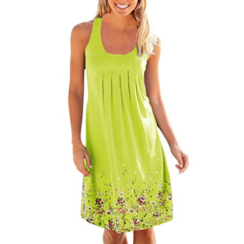 Vovotrade Damesjurk met bloemenprint, feestdagen, zomerjurk, maxi-formaat, lange jurk, casual jurk, strandjurk, strandjurken, strandjurken, mouwloze jurk