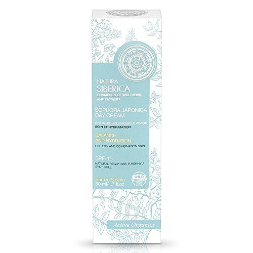 Active Organics Face Day Cream Care and Rebuilding for Oily and Combination Skin with Sophora Japonica, Active Organics Wild Herbs and Flowers 50 ml (Natura Siberica) by Natura Siberica