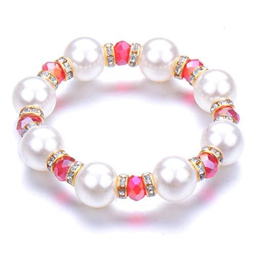 Pulseras Brazalete Joyería Mujer Bead Pearl Bracelets Bangles Pulsera De Cuentas Crystal Beads Jewelry Gift-Silver_Plated