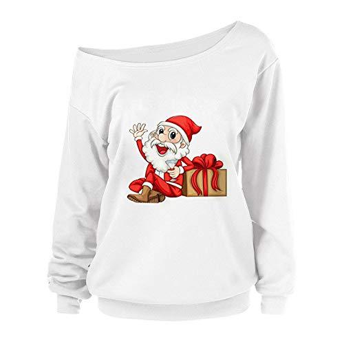 OverDose Damen Frohe Weihnachten Frauen Weihnachtsmann Drucken Tägliche Party Active Langarm-Überraschung Sweatshirt Pullover Tops Bluse Shirt Outwear(Weiß2,40 DE/L CN)