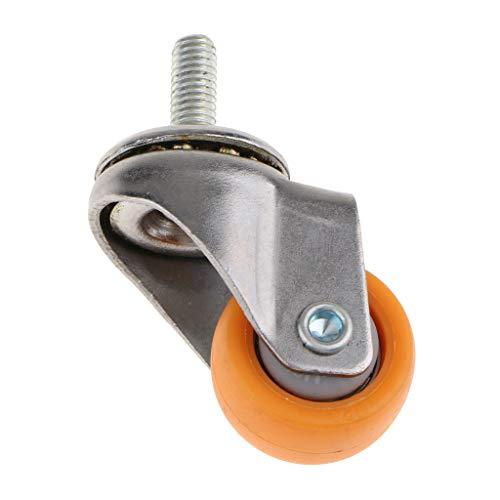 Silenciosas deslizamientos suelos de madera dura 4x Ruedas giratorias industriales de 1 pulgada, 1.5 pulgadas de tornillo traster naranja Ruedas de ruedas giratorias de servicio giratorio Trolley Mueb