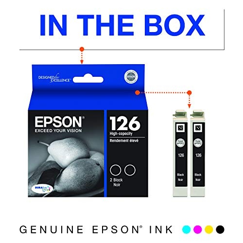 Epson T126120-D2 DURABrite Ultra Black Dual Pack High Capacity Cartridge Ink