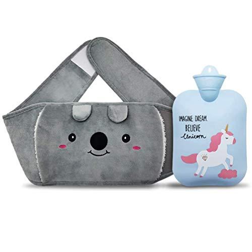 Borsa dell acqua calda, borsa dell acqua calda in gomma con morbido peluche scaldamani, simpatico unicorno, per alleviare il dolore da artrite, mal di testa, terapia calda e fredda (Blu)