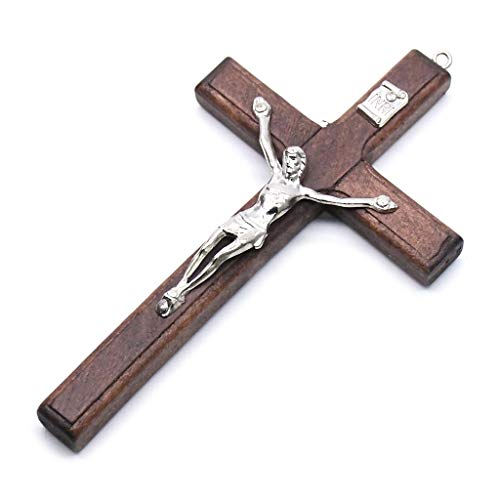 KOUJING 5x Houten Christus Jezus Kruis Lijden Standbeeld Religieus Gebed Kruisbeeld Hanger