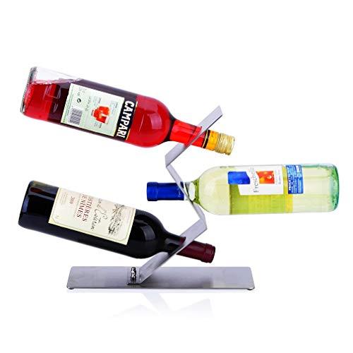 Estante para vinos de encimera, estante para vinos independiente para 3 botellas Porta botellas de vino de acero inoxidable para encimera Diseño minimalista moderno para amantes del vino (tamaño: 28 *