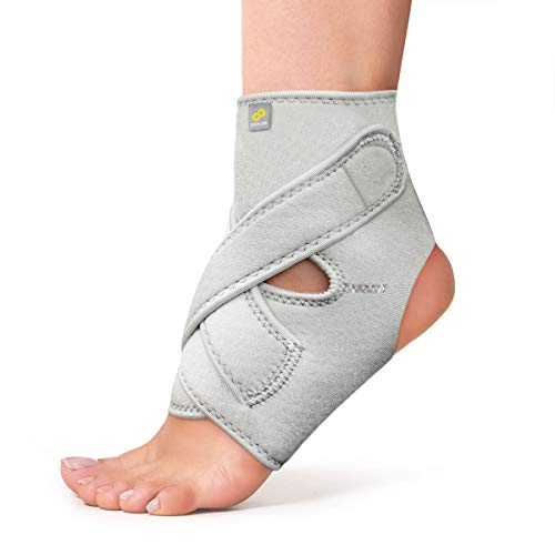 Bracoo Ankle Support, Compression Brace for Arthritis, Pain Relief, Sprains, Sports Injuries and Recovery, Breathable Neoprene Sleeve, FS10 (Gray,S/M)