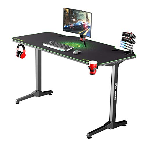 Ultradesk Frag Grün - Computertisch, Schreibtisch, Gaming Tisch mit Mauspad und Zubehör, L: 140cm T: 66cm H: 76cm