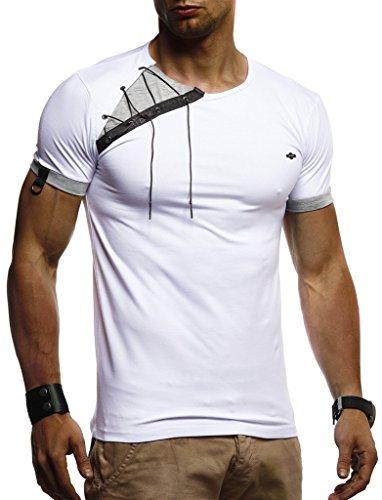 Leif Nelson Herren Sommer T-Shirt Rundhals-Ausschnitt Slim Fit Baumwolle-Anteil Moderner Männer T-Shirt Crew Neck Hoodie-Sweatshirt Kurzarm lang LN1245 Weiß Medium