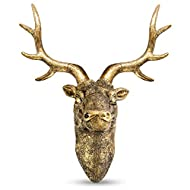 Stag Deer Head Wall Sculpture | Wall Decor Ornament | Home Decoration with Antique Finish | Resin Wa...