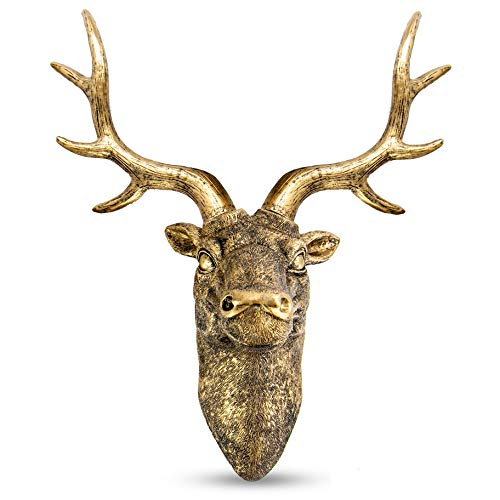 Stag Deer Head Wall Sculpture   Wall Decor Ornament   Home Decoration with Antique Finish   Resin Wall Art   Fixings Included   M&W (Gold)