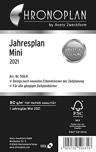 Chronoplan 50631 Kalendereinlage 2021, Jahresplan Mini (79 x 125 mm), Ersatzkalendarium, Universallochung, zum Aufklappen (mit Leporello Falzung)) weiß