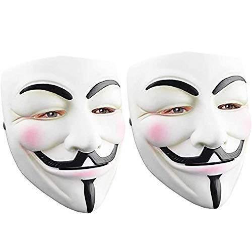 Hacker Mask for Halloween Costume - V for Vendetta Mask Anonymous Guy Mask for Kids Adult
