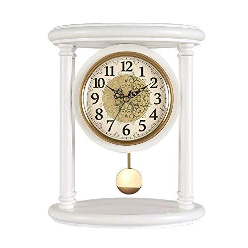 Reloj de mesa de escritorio, relojes de repisa Reloj de repisa de madera con péndulo Relojes clásicos de pie silenciosos antiguos Relojes de escritorio y estante de cuarzo analógico antiguo Regalo, b