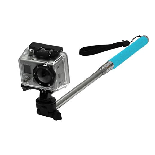 """MaximalPower BLUE 42"""" Extendable Handheld Monopod Selfie Stick Pole with Mount Adapter For GoPro HERO 3, 3+, 4"""