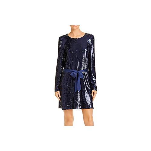 Ramy Brook Women's Hallie Long Sleeve Sequin Mini Dress, Navy, Small