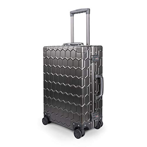 Travelking All Aluminum Carry On Luggage Hard Shell Metal Suitcase with TSA Lock Spinner Wheels (New Arrival Grey, 20 Inch)