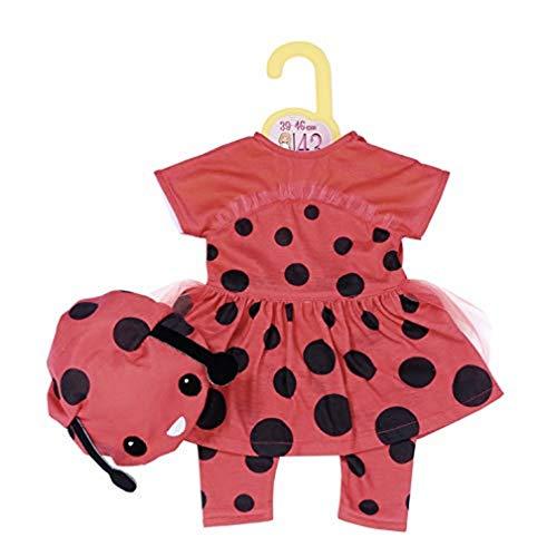 Zapf Creation 870921 Dolly Moda Süßes Marienkäfer Outfit, Puppenkleidung 43 cm. 3-teilig