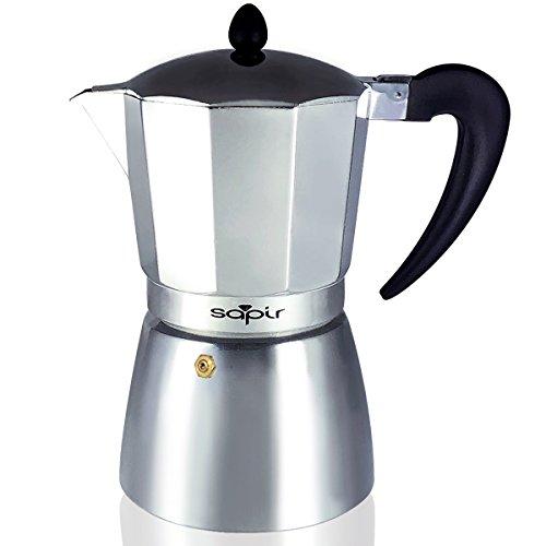SAPIR Włoski aluminiowy zaparzacz do kawy na 9 filiżanek/450 ml, aluminium, srebrny