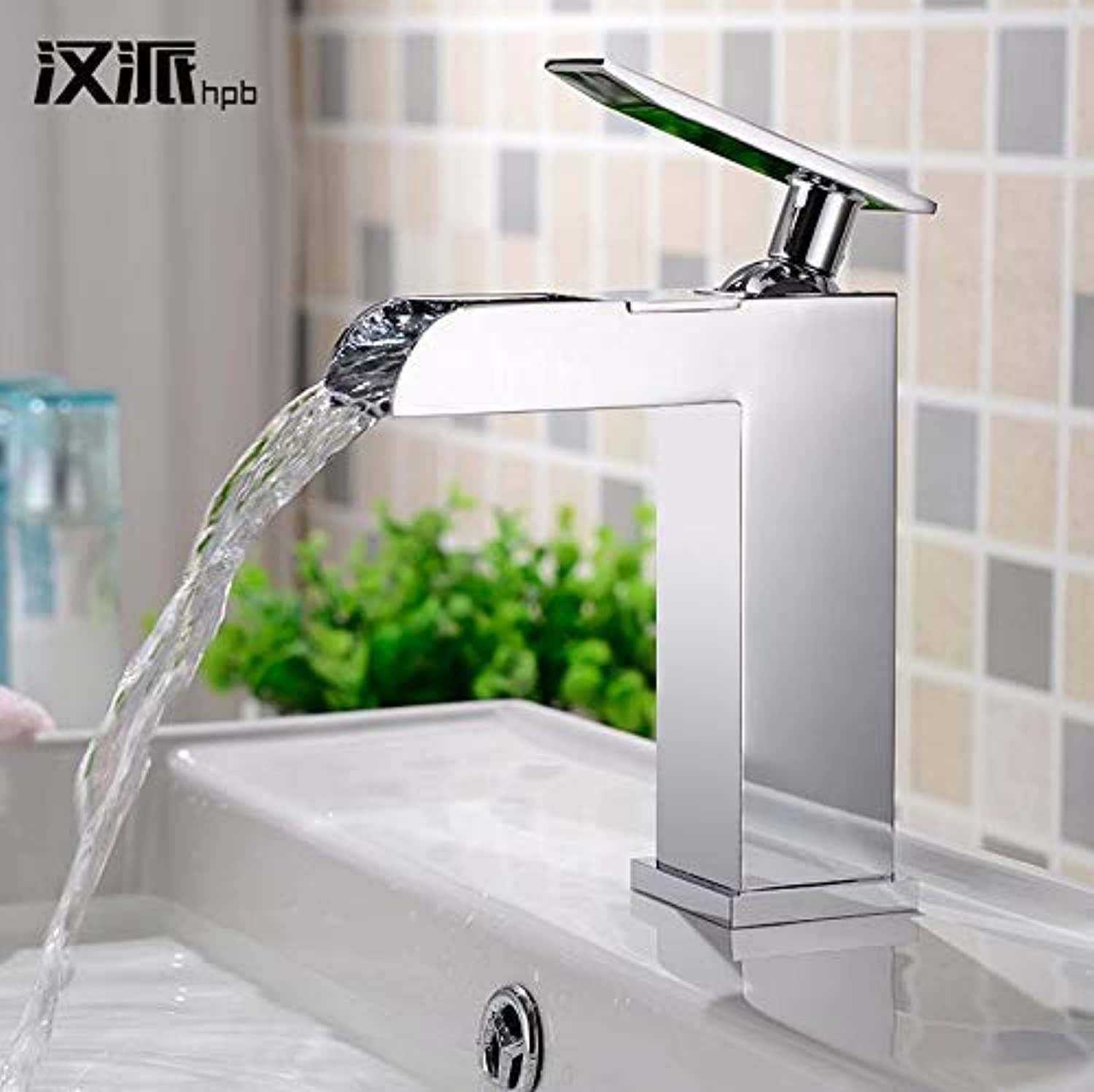 Oudan All Copper Hot and Cold Waterfall Basin Faucet Heightening Platform Basin Artistic Basin Wash Basin Basin Taps, High Money Hp3116 (color   Low Section Hp3016, Size   -)