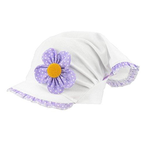 For you For you Kopftuch Dreiecktuch Mütze Schirmmütze Stirnband für Mädchen Baby Kinder Baumwolle mit Muster-Punktchen Schirmmütze1690 (42-44 cm Kopfumfang + 5 cm dehnbar, Flieder/Weiß)