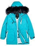 Wantdo Girls Long Winter Snow Coat Warm Puffer Jacket Skiing Jacket Light Blue 8