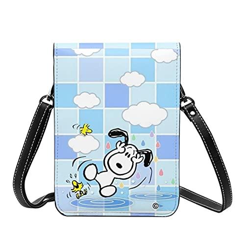 Lindo Snoopy Crossbody Bolsos ligeros pequeños pasaporte monedero de cuero cartera bolsa para mujeres viaje playa bolsa