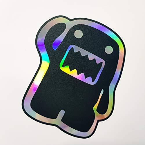 folien-zentrum Domo Kun 10,5x12cm Auto Aufkleber Oilslick schwarz Farbwechsel Rainbow Flip Flop Hologramm Metallic Effekt JDM Tuning Sticker Decal Fun