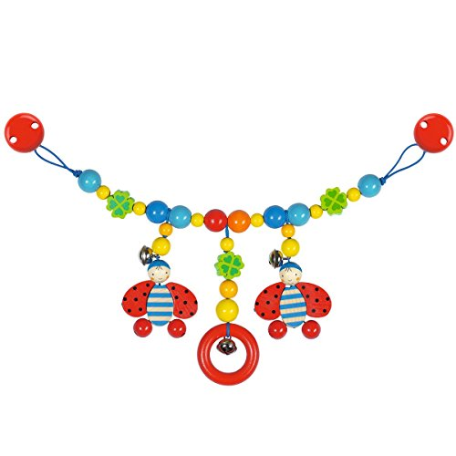 solini Kinderwagenkette Marienkäfer – Babyspielzeug aus Holz – Unterhaltung für unterwegs - mehrfarbig