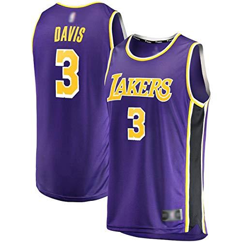 FTING Ropa de baloncesto al aire libre Jersey Anthony Los Angeles NO.3 Púrpura, Lakers Davis 2020/21 Fast Break réplica Jersey camisas para hombres- Edición de la Asociación