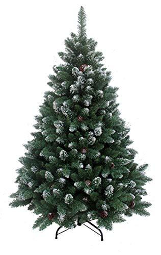 RS Trade HXT 15013 künstlicher Weihnachtsbaum 120 cm mit Schnee und Zapfen (Ø ca. 78 cm) ca. 500 Spitzen, schwer entflammbarer Tannenbaum mit Schnellaufbau Klappsystem, inkl. Christbaum Ständer