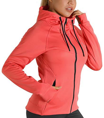 icyzone Chaqueta deportiva para mujer con cremallera, chaqueta de entrenamiento con capucha, sudadera de manga larga para el invierno Coral rojo. XL