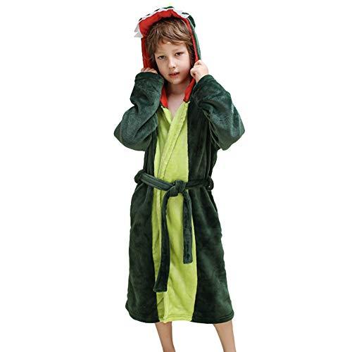 LOLANTA Plüsch-mit Kapuze Bademantel der Mädchen-Jungen - Dinosaurier-Fleece-Bademantel-Kleid-Kleid