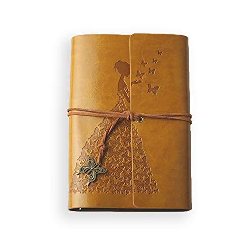 MARSACE A6 Pelle Taccuino Diario di Viaggio Quaderno Ricaricabile Bloc Notes Fogli Bianchi Retro Notebook per Uomo Donna Ragazzi Ragazze Alunno 80 Fogli 18.5x12 CM Giallo