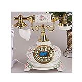 FTFTO Equipo de Vida Teléfono de Resina de teléfono Fijo de Flores en Relieve Antiguo con Pantalla LCD de identificación de Llamadas Decoración Retro para cafetería Bar Dorado