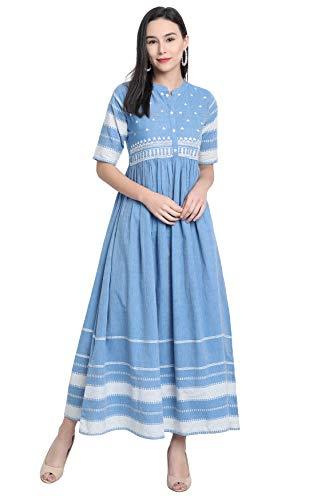 Janasya Women's Blue Cotton Western Dress