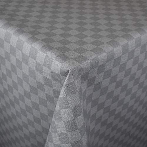 KEVKUS Jacquard Tischdecke beschichtete Baumwolle kariert grau 32998 wählbar in eckig rund oval (Rand: Baumwollpaspel (Paspelschrägband), 50 x 140 cm eckig)