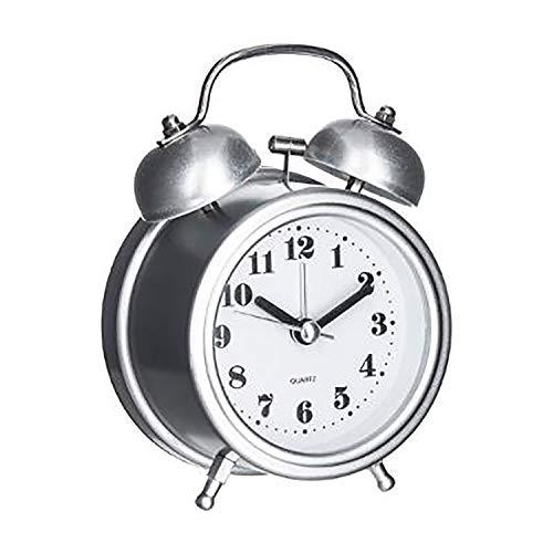 Reloj Despertador Sobremesa Retro, Silencioso Sin Tictac, Decoración Vintage. Alarma Clásica. (Gris)